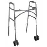 Bariatric Aluminum Folding Walker, Two Button with Heavy-Duty Wheels - 