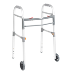 "Universal (Adult/Junior) Folding Walker, Two Button with 5"" Wheels - 